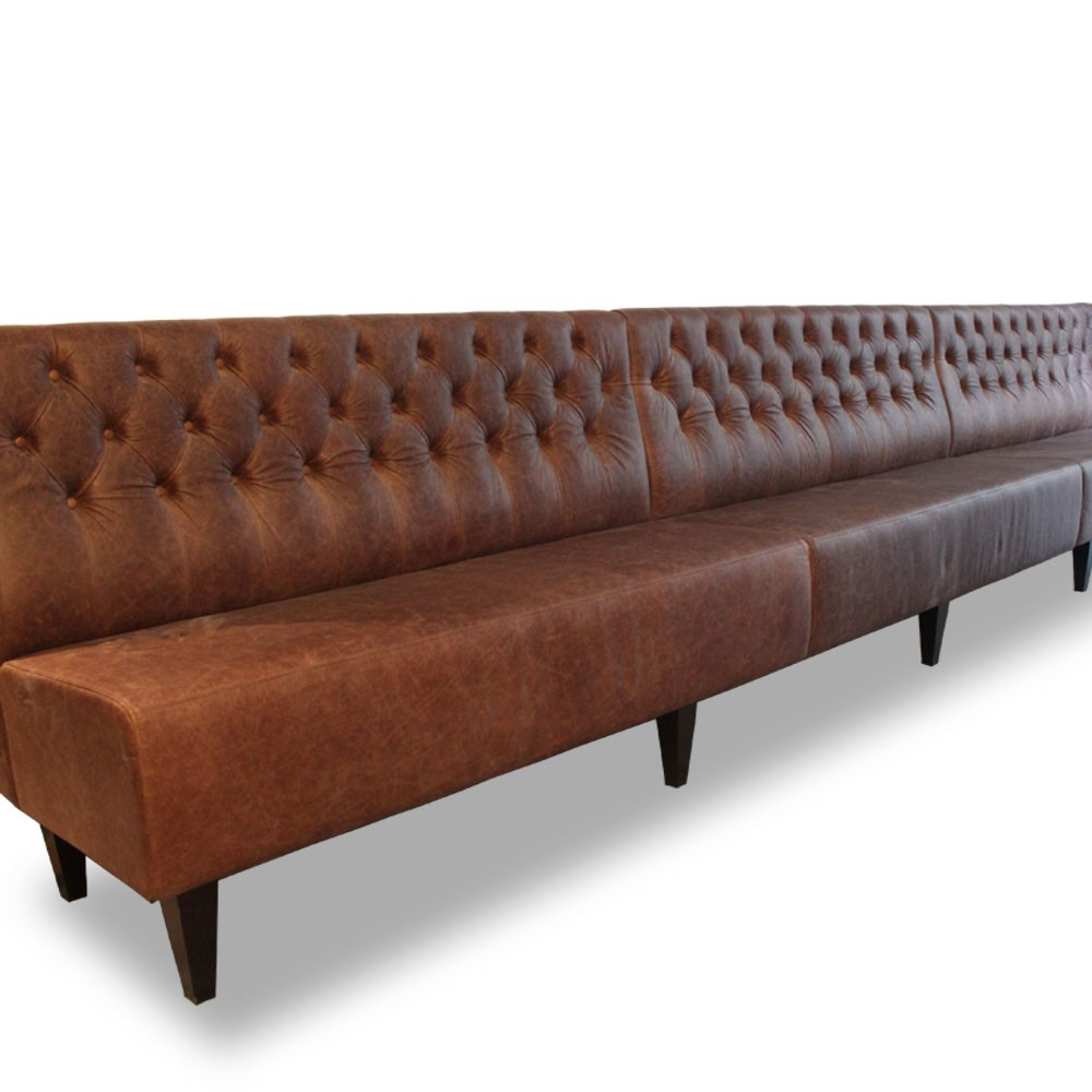 Traditional Deep Button Back Fixed Bench Seating Bench