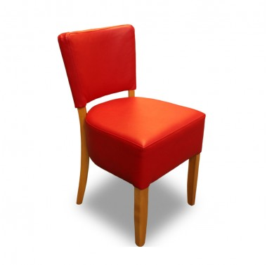 Red Faux Leather/ Light Oak Wood